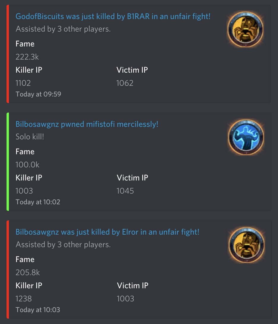 Discord Bot for Albion Online Killboard